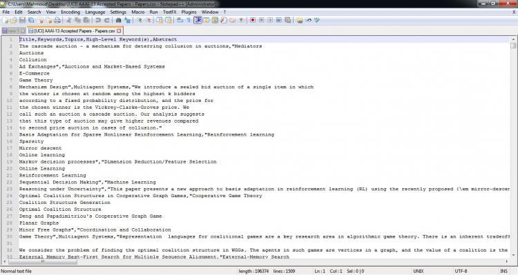 مجموعه داده مقالات پذیرفته شده در کنفرانس AAAI